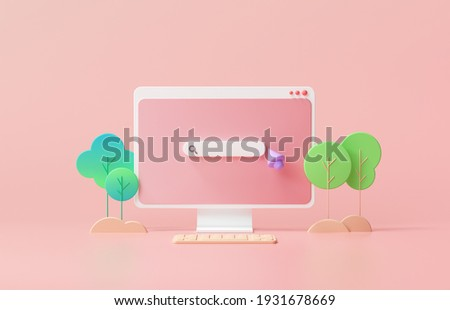 Search bar webpage on pink background. Minimal searching on web search concept. 3d rendering