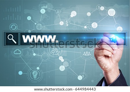Search bar with www text. Web site, URL. Digital marketing. Business, internet and technology concept. #644984443