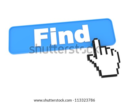 Search Blue Web Button. Isolated on White.