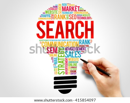 SEARCH bulb word cloud, business concept