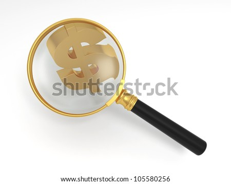 search dollars/A magnifying glass and the dollar symbol