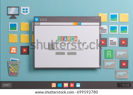Search engine home page with search bar on a browser window, collage and paper cut composition #699592780