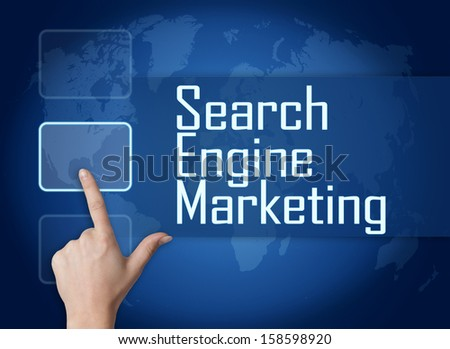 Search Engine Marketing concept with interface and world map on blue background