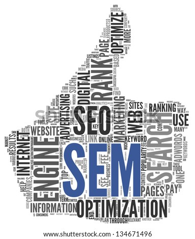 Search engine marketing SEM concept in word tag cloud on white background