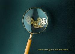 Search engine mechanisms concept. Magnifier on cogwheels.