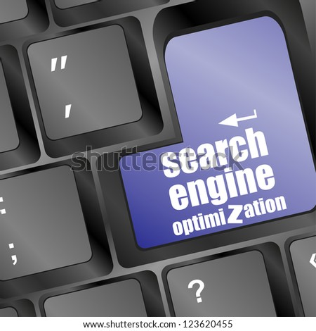 search engine optimization, computer keyboard with seo key, raster