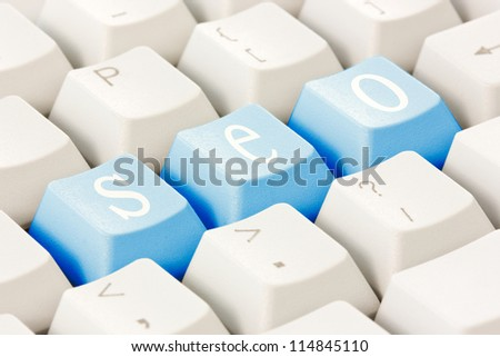 Search engine optimization concept. SEO buttons on the keyboard.