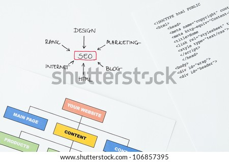 Search engine optimization planning with writing, diagram and html