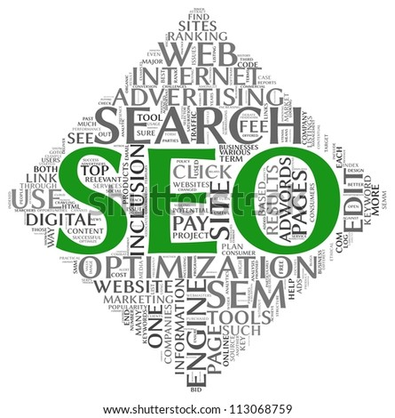 Search engine optimization SEO concept in word tag cloud on white background