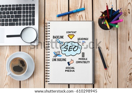 Search Engine Optimization (SEO) Concept On Work Desk, With Magnifier And Laptop Computer