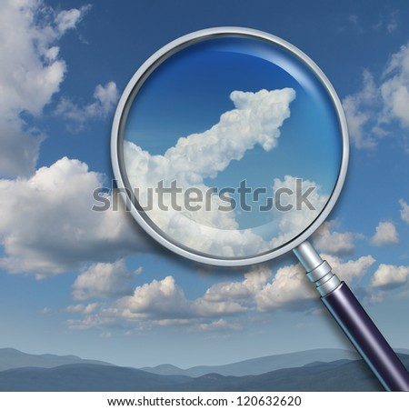 Search for opportunity and discovery of chances for business success with a visionary ability as a magnifying glass on a sky with an upward arrow shaped cloud.