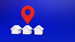 Search for Property. 3D render of Large Red GPS Pointer containing a white House.