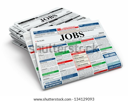 Search job. Newspapers with advertisments on white isolated background. 3d