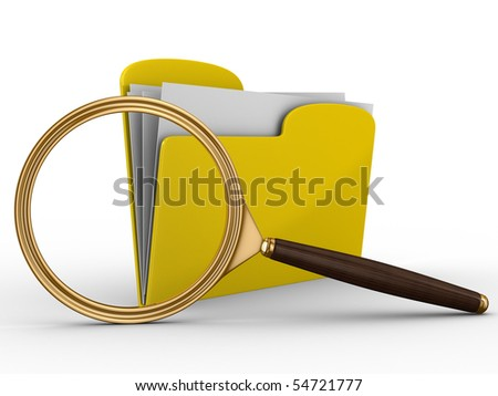 Search of data. Isolated 3D image on white