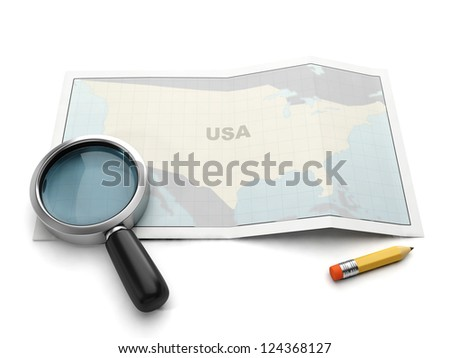 Search on the map. U.S. map magnifier and pencil on white background