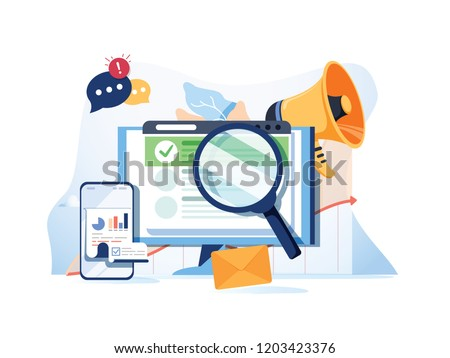 Search result optimization SEO marketing analytics flat banner with icons. SEO performance, targeting and monitoring, search results website templates. Modern website concept business solutions