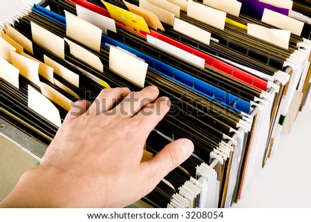 searching a file, business concept
