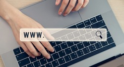 Searching browser online, women using laptop and type keyboard.