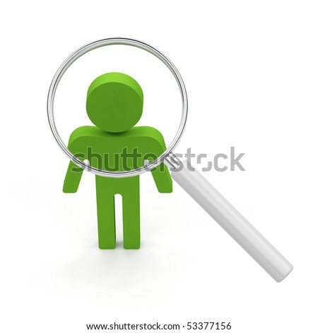 Searching for a person. 3d render illustration on white background. - stock photo