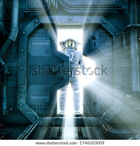 Searching for survivors / 3D illustration of astronaut entering mysterious abandoned space station silhouetted by bright light