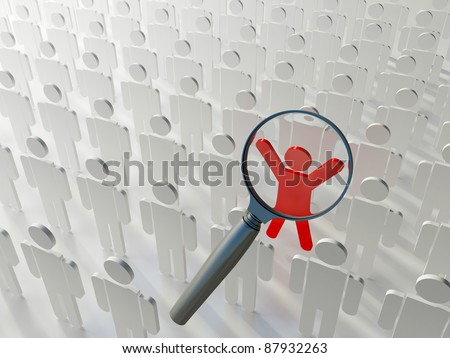 Searching for the right person. Loupe over the blue human figure standing out of the grey crowd