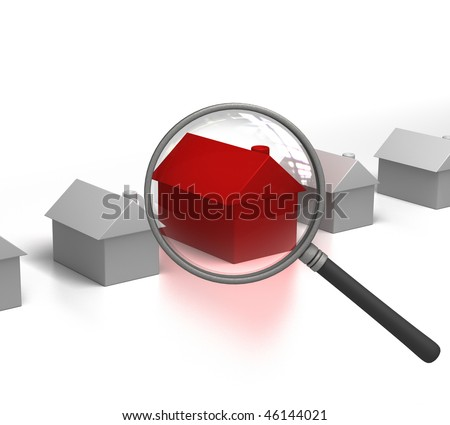 Searching Hot Property with Magnifying Glass - stock photo