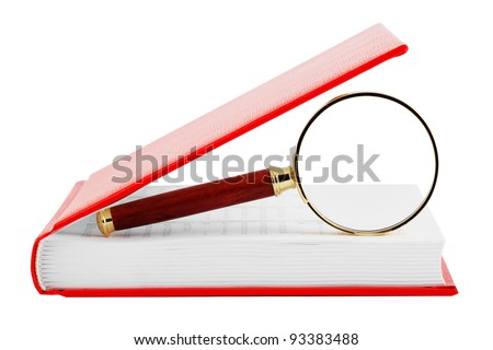 Searching. Magnifier with the book on the white background