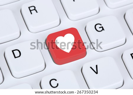 Searching partner and love online on digital internet dating computer #267350234