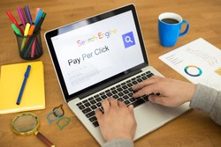 Searching PAY PER CLICK on Internet Search Engine Browser Concept