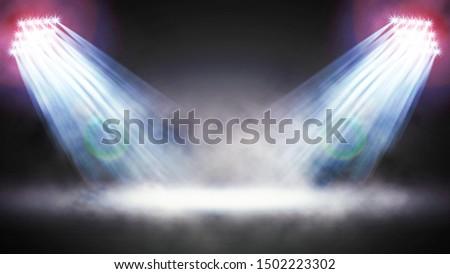 Searchlight illuminates. Floodlights illuminating the stadium. Sports event. Scene, stage light with colored spotlights. 3d illustration.