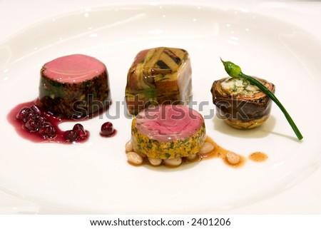 ... thyme, eggplant zucchini and tomato baked mousaka, artichoke and feta