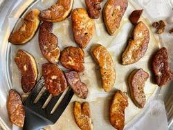 Searedfried foie gras preparation for dish decoration