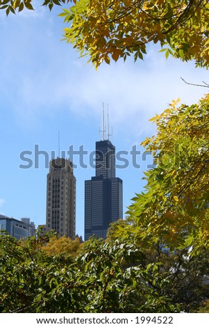 sears tower in autumn Chicago