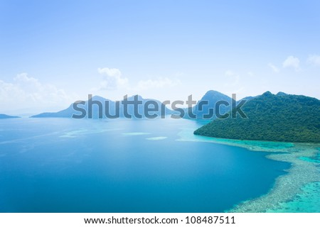 seascape and blue sky from top view