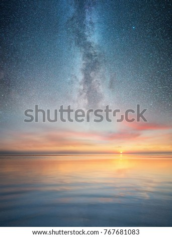 Seascape and night sky. Beautiful natural summer seascape #767681083