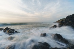 Seascape and ocean waves with unique basalt geology, natural landscapes at Zhangzhou Volcanic park at Sunrise, Fujian, China