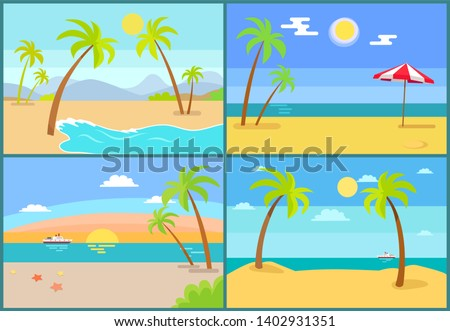Seascape and palms collection sea umbrella tropic trees on coast set of seascapes with beach recreation vacation raster illustration