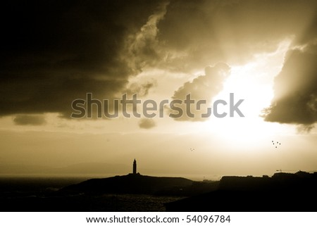 seascape at dawn. Hercules tower, galician lighhouse