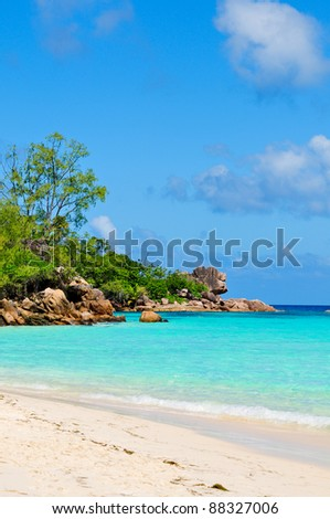 Seascape beach ocean. Seychelles island #88327006