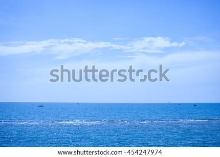 Seascape. Blue sky with Calm sea. #454247974