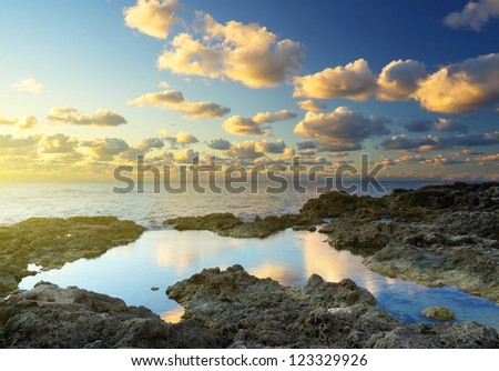 Seascape. Bright sky during sundown - stock photo