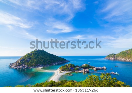 Seascape coastline morning sunny day blue sky with idyllic island, Koh nangyuan Suratthani #1363119266
