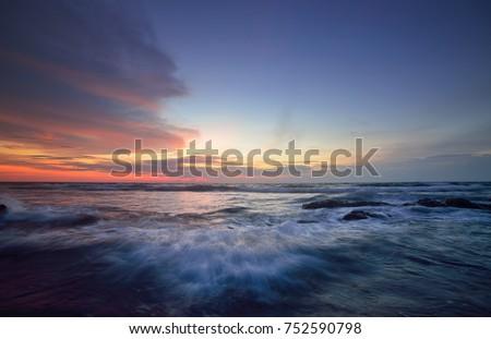 Seascape during sundown. Beautiful natural summer seascape.  #752590798