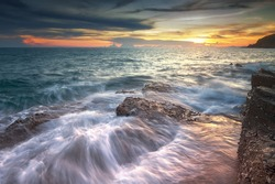 Seascape during sunset. Beautiful natural seascape