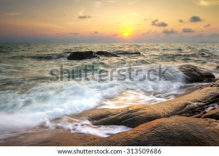 Seascape during sunset. Beautiful natural seascape
