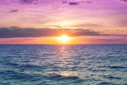 Seascape, early morning, sunrise over sea. Nature landscape