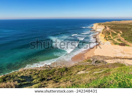 Seascape Ericeira Portugal. From surfers in the water. #242348431