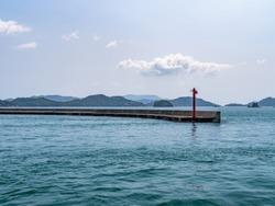 Seascape from Uno Port, Okayama Prefecture, Japan. Uno Port is the gateway to the sea leading to the islands dotting the Setonaikai (Seto Inland Sea).