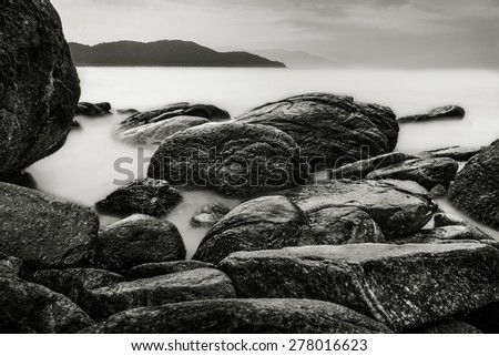 Seascape in Black and White with rocks in Brazil