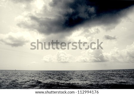 Seascape in Malaysia with dramatic sky